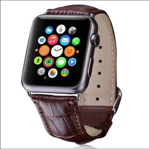 Accessories - BROWN CROCODILE LEATHER APPLE WATCH STRAP- watch